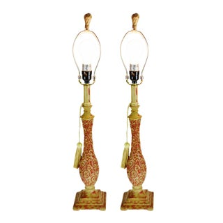 Vintage French Provincial Style Resin Candlestick Table Lamps - a Pair For Sale