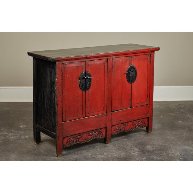Late 18th Century 18th Century Chinese Elm 4-Door Side Cabinet For Sale - Image 5 of 11