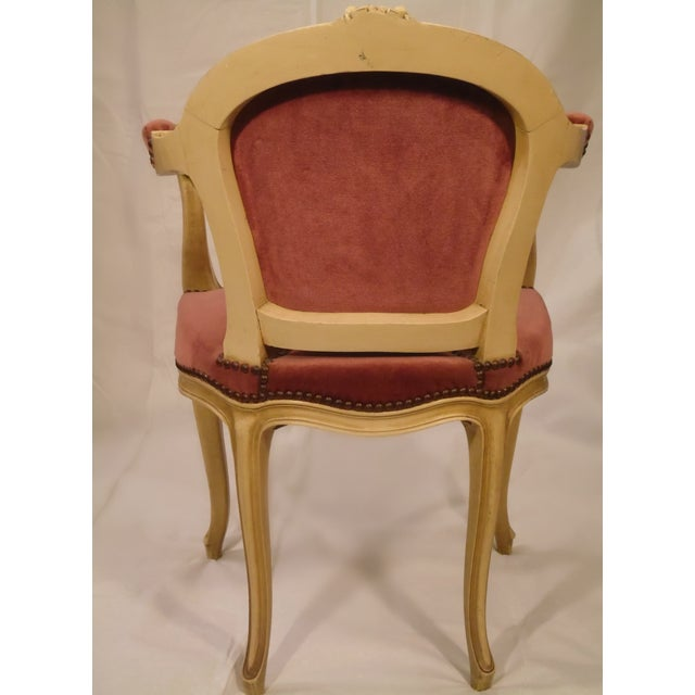 Antique Ivory Louis XV Style Low Back Fauteuil - Image 5 of 7