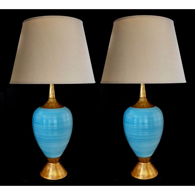 A Striking Pair of American Mid-Century Light Blue Ovoid Ceramic Lamps For Sale - Image 4 of 4