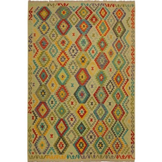 Araceli Ivory/Red Hand-Woven Kilim Wool Rug -6'9 X 10'0 For Sale