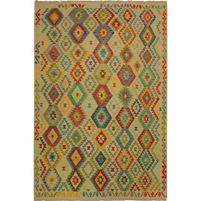 Araceli Ivory/Red Hand-Woven Kilim Wool Rug -6'9 X 10'0 For Sale