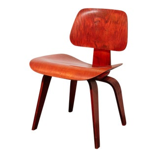 Vintage Eames Dcw in Red Aniline for Herman Miller For Sale