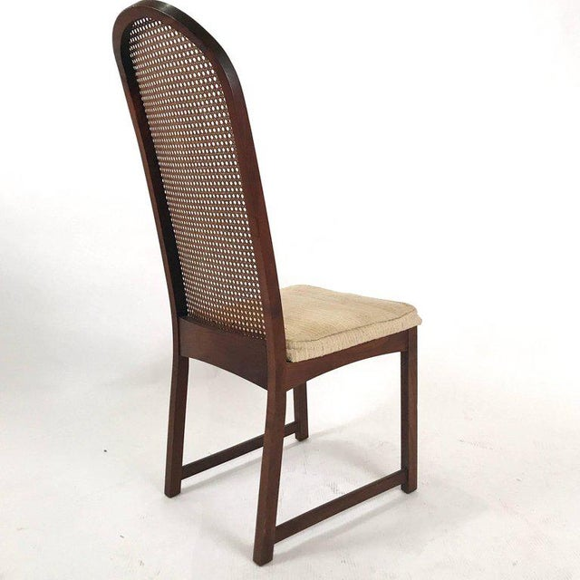 Directional Set of Six Milo Baughman High Back Cane and Walnut Dining Chairs for Directional For Sale - Image 4 of 11