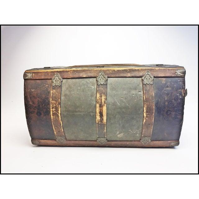 Vintage Rustic Wood Camelback Steamer Trunk For Sale - Image 11 of 13