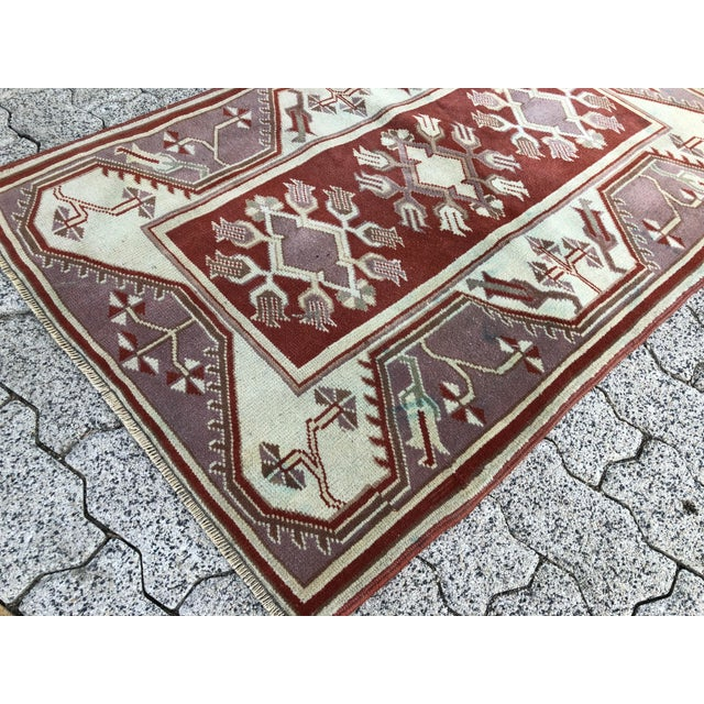 1970s Vintage Turkish Oushak Handmade Small Rug - 2′8″ × 4′2″ For Sale In Phoenix - Image 6 of 11