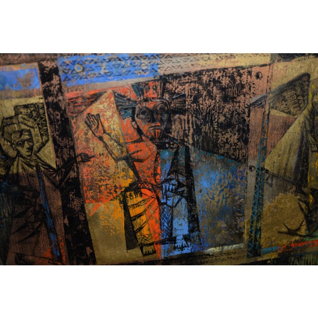 """1956 """"Memory of the Bronze Doors of San Zeno, Italy"""" Oil Painting by Gerda With For Sale - Image 9 of 13"""