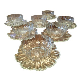 Depression Glass Flower Dessert Bowls With Attached Plate - Set of 7 For Sale