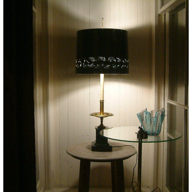 Gold Circa 1950 Mid-Century attributed to Maison Jansen Bronze French Candle Table Lamp -1 For Sale - Image 8 of 9