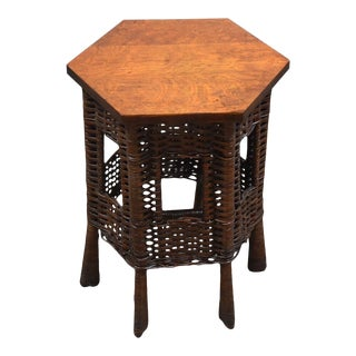 Antique Wicker Heywood Wakefield Side Table For Sale