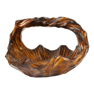 Folk Art Hand Carved Solid Wood Knobby Style Basket Fruit Bowl With Handle For Sale