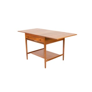 1950s Vintage Hans J. Wegner for Andreas Tuck Danish Teak Expanding Sewing Table For Sale