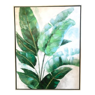 Large Green Palm Painting in Silver Frame For Sale