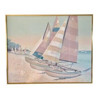 "Artmaster Studios ""Pastel Catamaran on Sandy Beach"" Handpainted Serigraph For Sale"