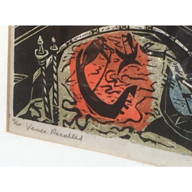 Cubism Mid Century Modern Irving Amen Woodblock Print of Venice For Sale - Image 3 of 10
