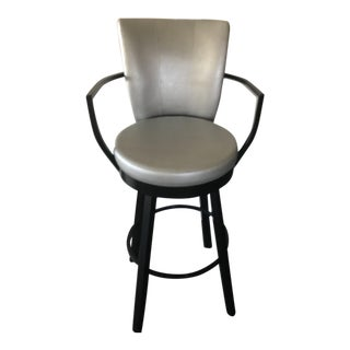 Leather Silver Swivel Chair For Sale