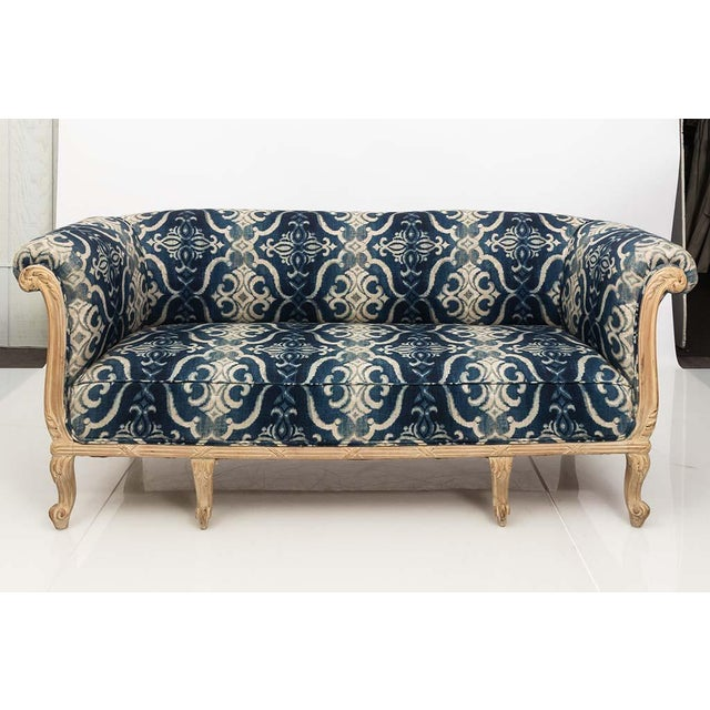Antique French Chesterfield Sofa in Indigo Ikat Print Linen For Sale - Image 13 of 13