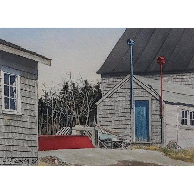 Cottage Gregory Dunham - the Cottage W/Blue Door- Watercolor Painting For Sale - Image 3 of 8