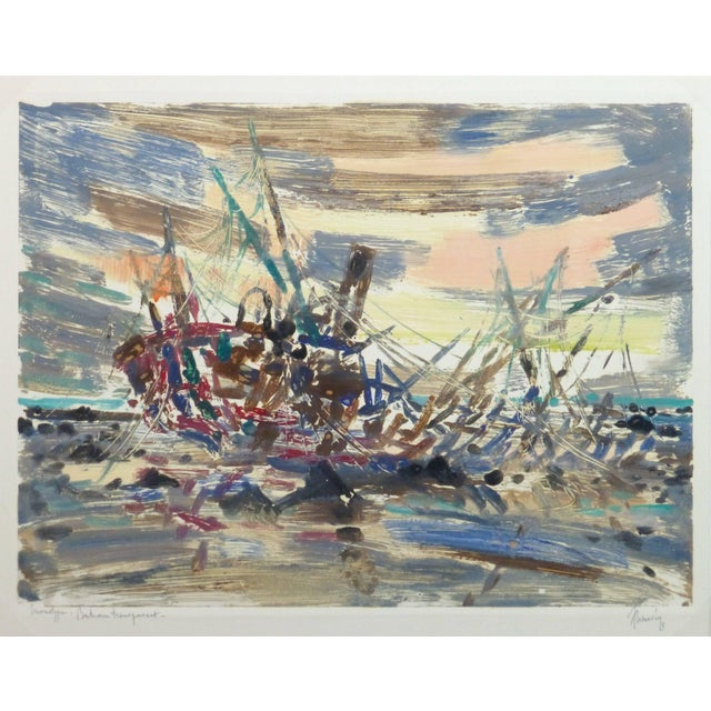 1960s Chauvin, Vintage French Monotype - Bateau Transparent For Sale - Image 5 of 5