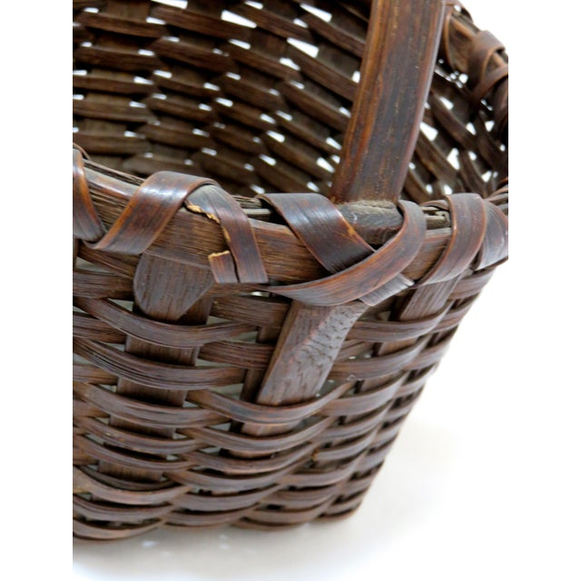 Late 19th Century Late 19th Century Antique American Handwoven Splint Basket For Sale - Image 5 of 7