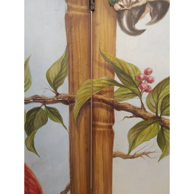 Chinoiserie Picturesque Tropical Double Sided Hand Painted Room Divider For Sale In Miami - Image 6 of 13