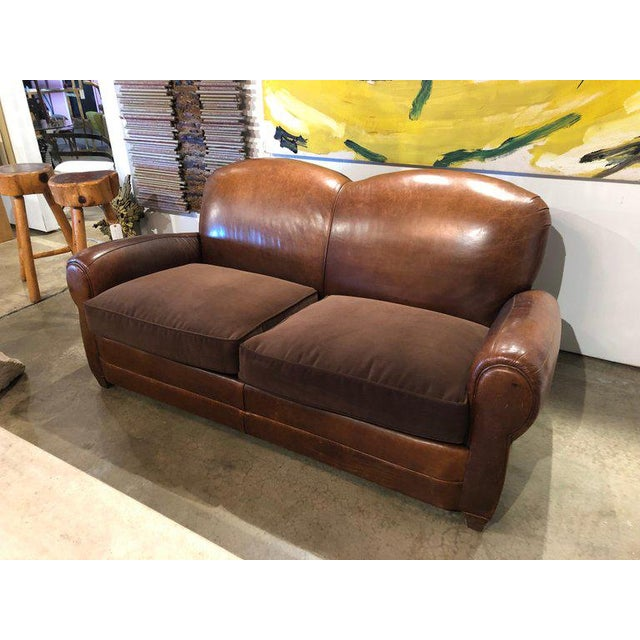 Vintage Leather Club Sofa With Velvet Seating Cushions.