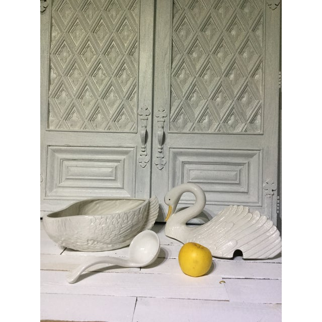 Ceramic Italian Mid Century Ceramic Swan Tureen With Ladle For Sale - Image 7 of 13