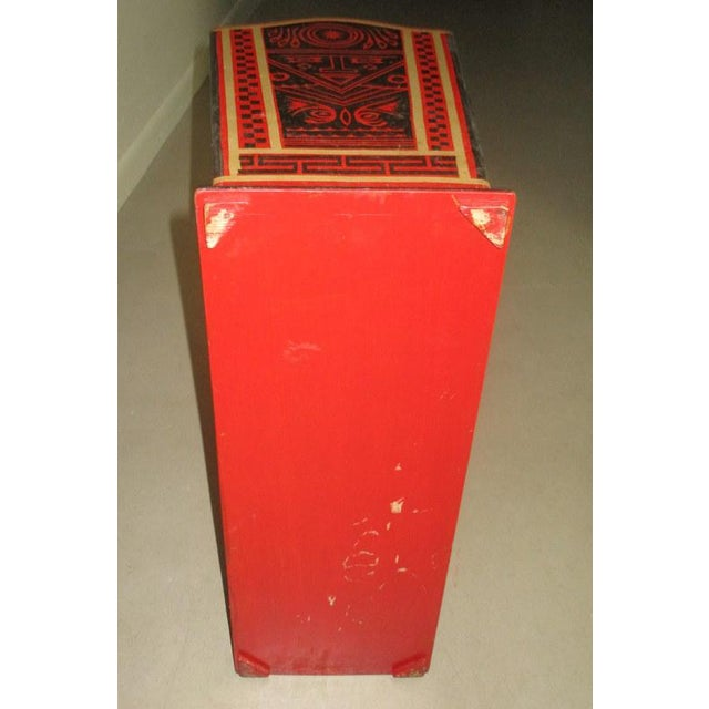 Red Mexican Lacquerware Magazine Stand With Aztec Designs For Sale - Image 8 of 13