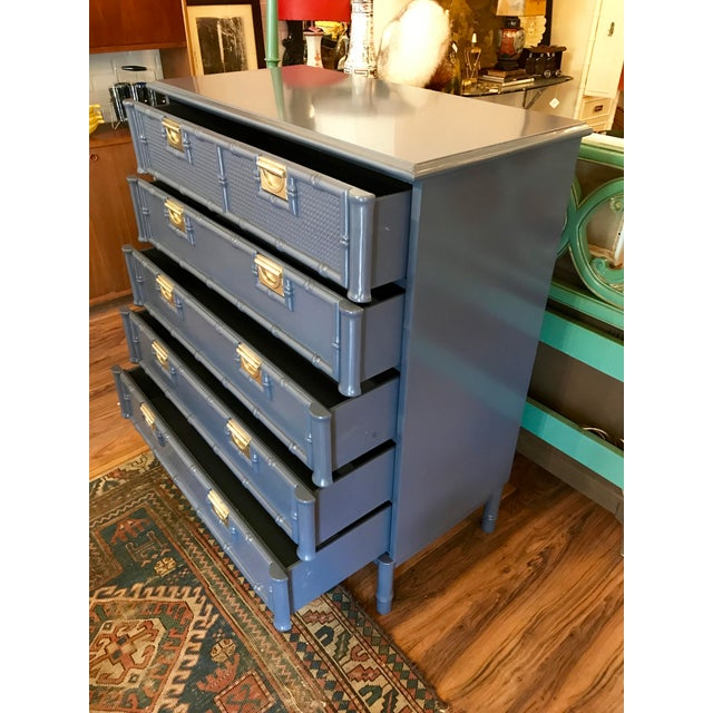 """A wonderful faux-bamboo style highboy that has been freshly lacquered in semi-gloss """"Hale Navy"""" by Benjamin Moore. 5..."""