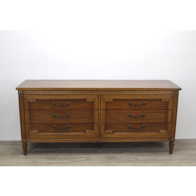 Mid-Century Modern Walnut Six Dresser With Brass Hardware For Sale - Image 12 of 12