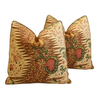 "French Pierre Frey & Scalamandre Silk Velvet Feather/Down Pillows 21"" Square - Pair"