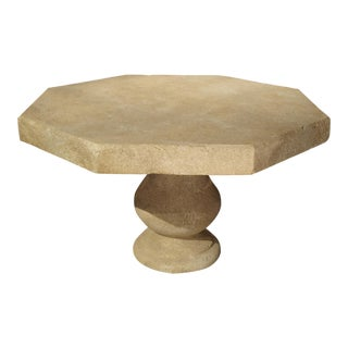 Carved Octogonal Limestone Table from Provence France For Sale
