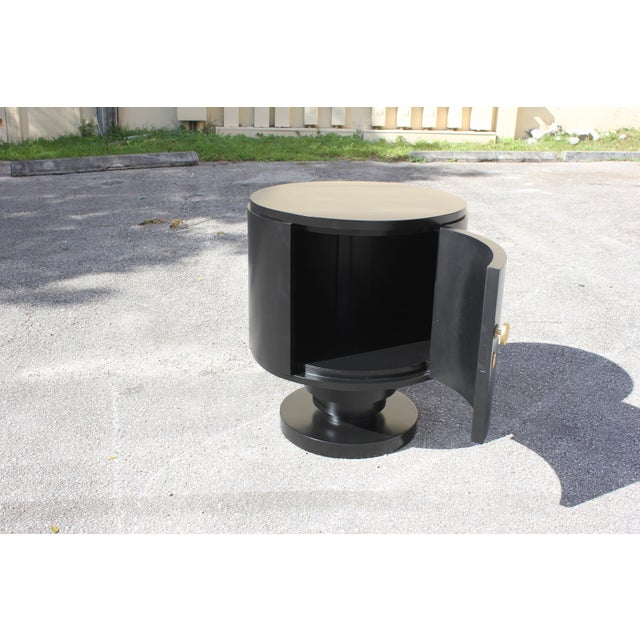 1940s 1940s French Art Deco Cylinder Ebonized Dry Bar For Sale - Image 5 of 13