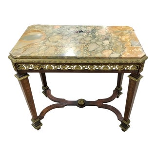 19th Century Bronze Mounted Marble Top Side Table For Sale