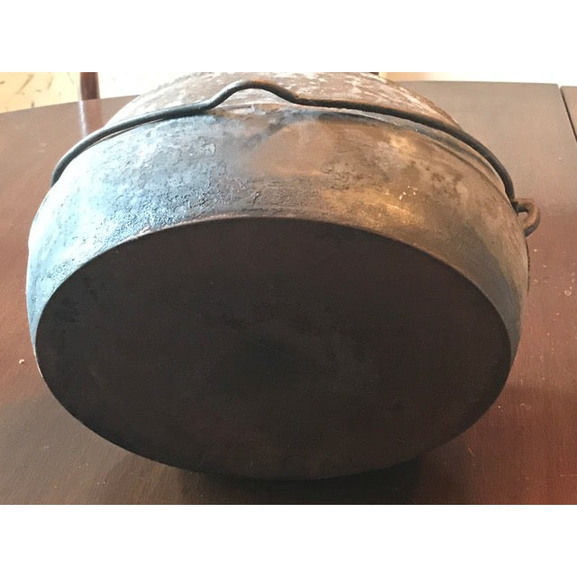 Vintage Large Rustic Cast Iron Dutch Oven - Image 7 of 9