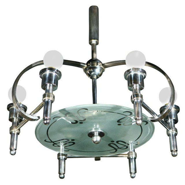 Silver Italian Machine Age Art Deco Chandelier Pietro Chiesa For Sale - Image 8 of 8