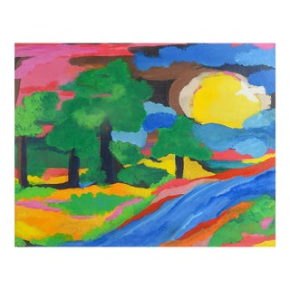 Abstract Fauvist Landscape Oil Painting