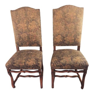 Antique French Os De Mouton Pegged Oak Dining Chairs - a Pair For Sale
