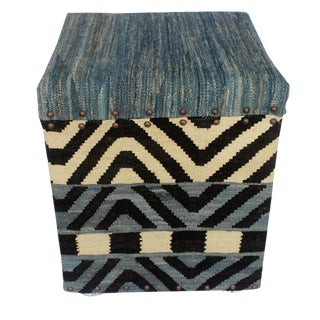 Deloras Blue/Ivory Kilim Upholstered Handmade Storage Ottoman For Sale