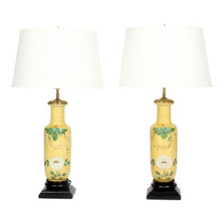 Chinese Wang Bing Rong Vase Lamps - A Pair For Sale