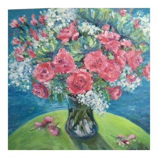 """Bouquet of Pink Roses"" Contemporary Oil Painting on Canvas"