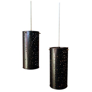 Pair of Cylindrical Hanging Lights For Sale