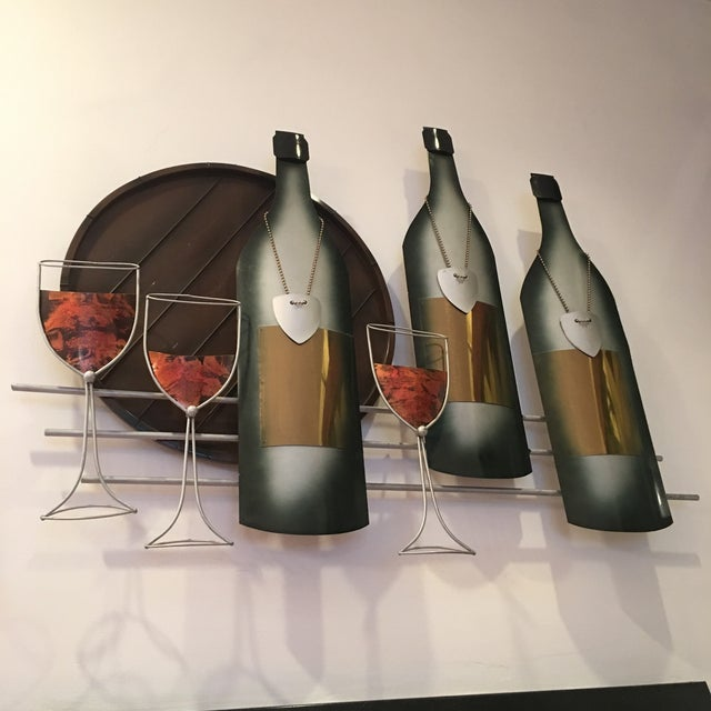Brass Signed C. Curtis Jere Artisan House Wine Tasting Sculptural Wall Art For Sale - Image 7 of 10