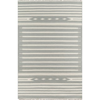 "Erin Gates Thompson Billings Grey Hand Woven Wool Area Rug 7'6"" X 9'6"" For Sale"