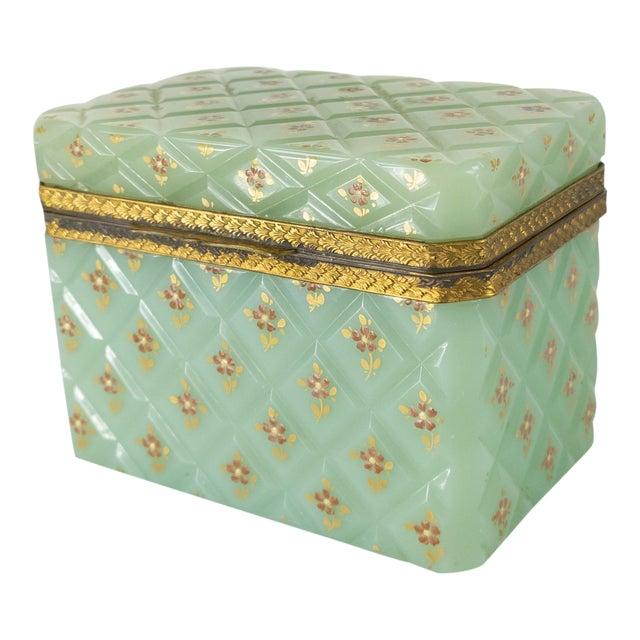 French Bronze Mounted Celadon Green Opaline Trinket Box For Sale