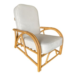Restored Two-Strand 1940s Transition Rattan Recliner Lounge Chair For Sale