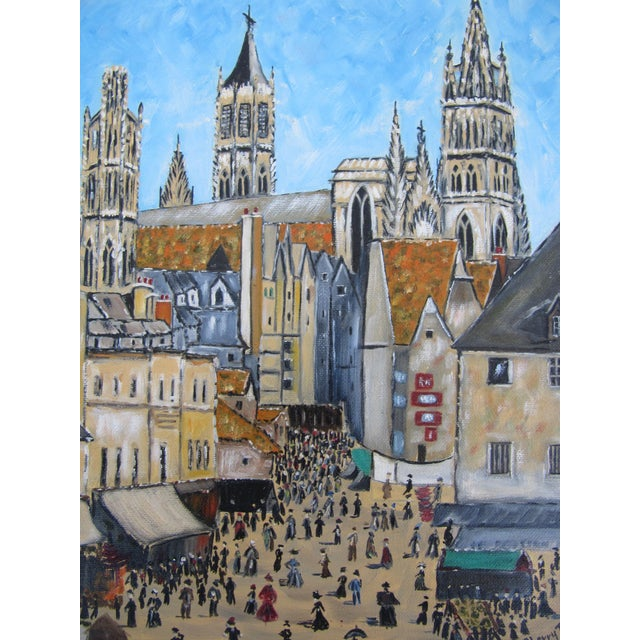 Beautiful and detailed vintage acrylic painting of a cathedral and a square filled with people. Signed lower right.