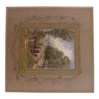 Small Impressionist Landscape Artwork in Frame For Sale