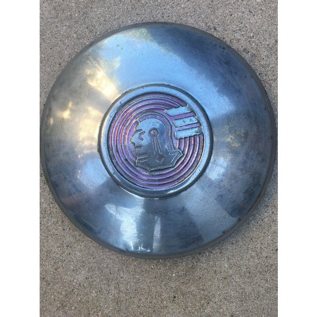 Americana Decorative Wall Accent Vintage Pontiac Chieftain Hubcap For Sale - Image 3 of 5