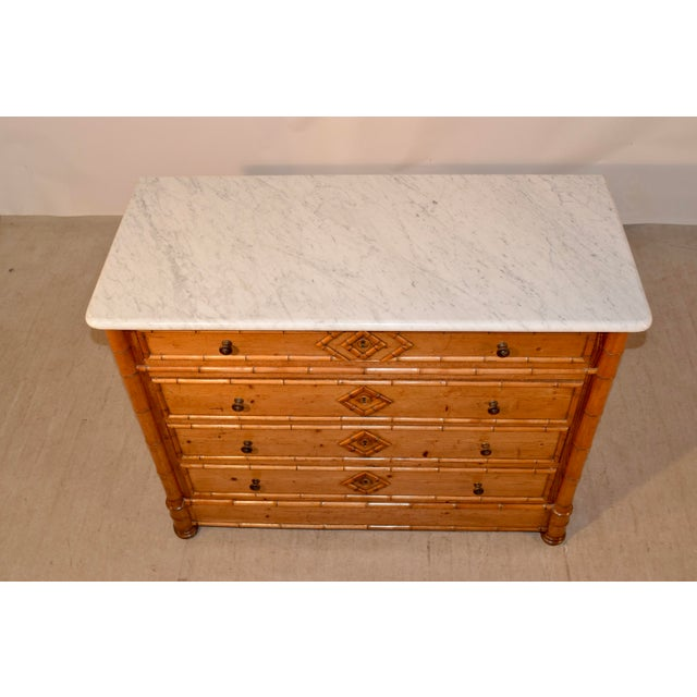 Wood 19th C French Faux Bamboo Chest of Drawers For Sale - Image 7 of 8